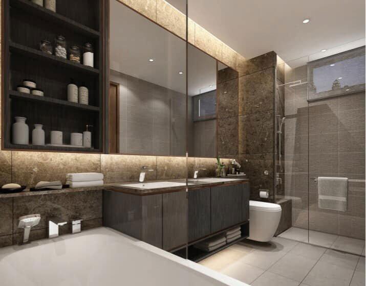 Bồn tắm nằm của căn hộ The Riverin Thủ Thiêm
