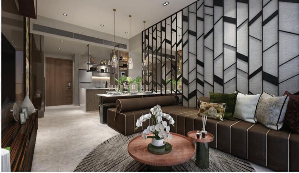 Phòng khách căn hộ mẫu The Riverin