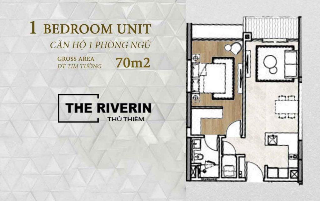 Mặt bằng căn hộ 1 phòng ngủ The Riverin Thủ Thiêm