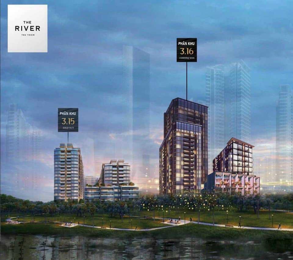 Hình phối cảnh dự án The River Thủ Thiêm với 2 giai đoạn tại 2 lô đất 3.15 và 3.16 Thủ Thiêm