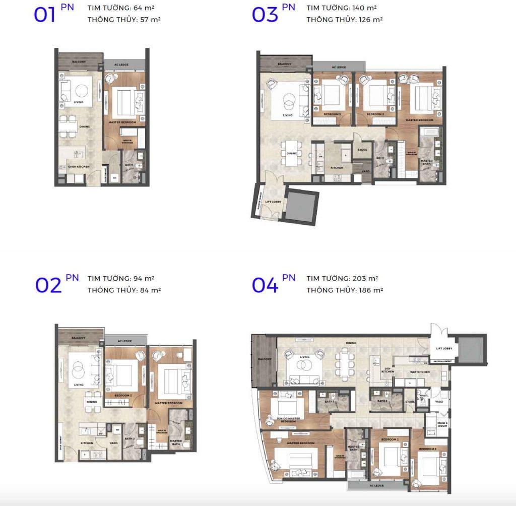 4 loại diện tích căn hộ The River Thủ Thiêm